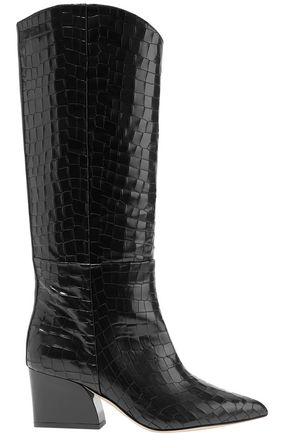 TIBI Glossed croc-effect leather knee boots
