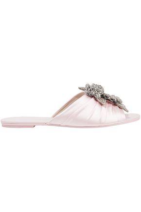 SOPHIA WEBSTER Lilico crystal-embellished ruched satin slides