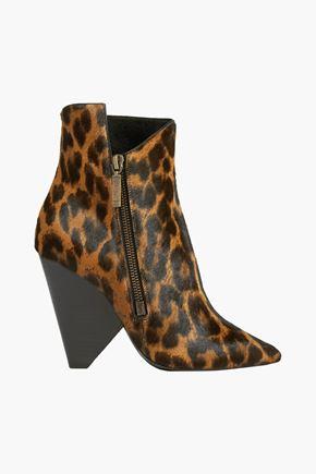 SAINT LAURENT Niki leopard-print calf hair ankle boots