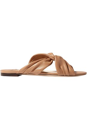 JIMMY CHOO Leila knotted leather slides