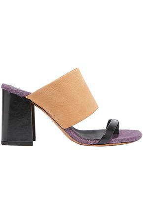 DRIES VAN NOTEN Leather and calf hair mules