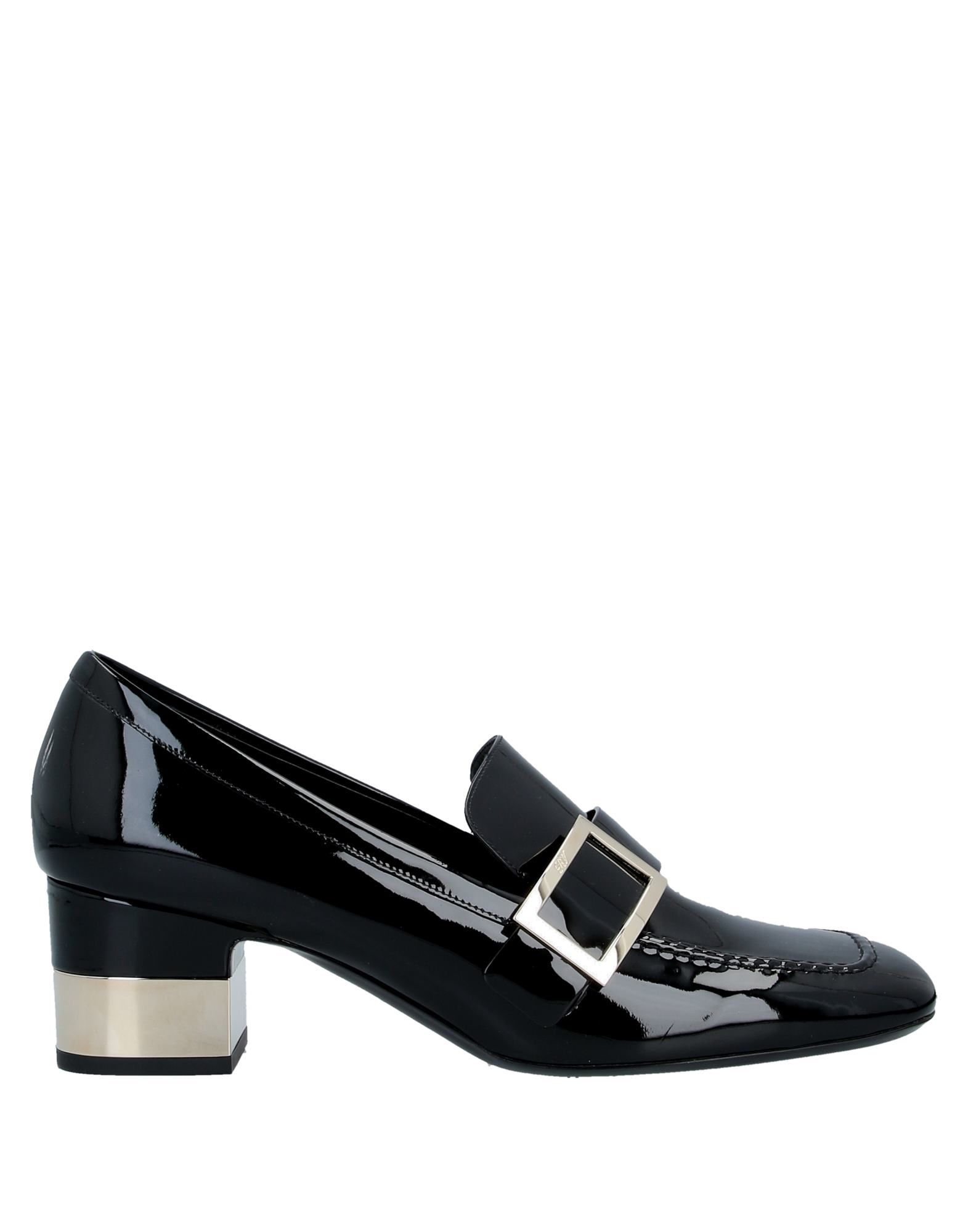 ROGER VIVIER Loafers. leather, varnished effect, buckle, logo, solid color, square toeline, covered heel, leather lining, square heel, contains non-textile parts of animal origin, leather sole. Soft Leather