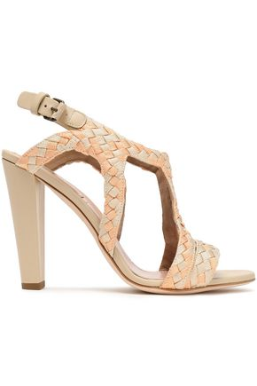 ALBERTA FERRETTI Leather-trimmed braided canvas sandals