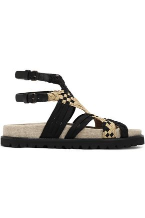 ALBERTA FERRETTI Leather-trimmed braided canvas sandals