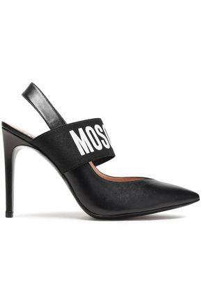 MOSCHINO Logo-print leather slingback pumps