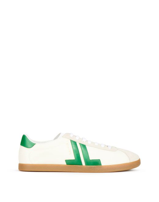 ECRU & GREEN GLEN TRAINER - Lanvin