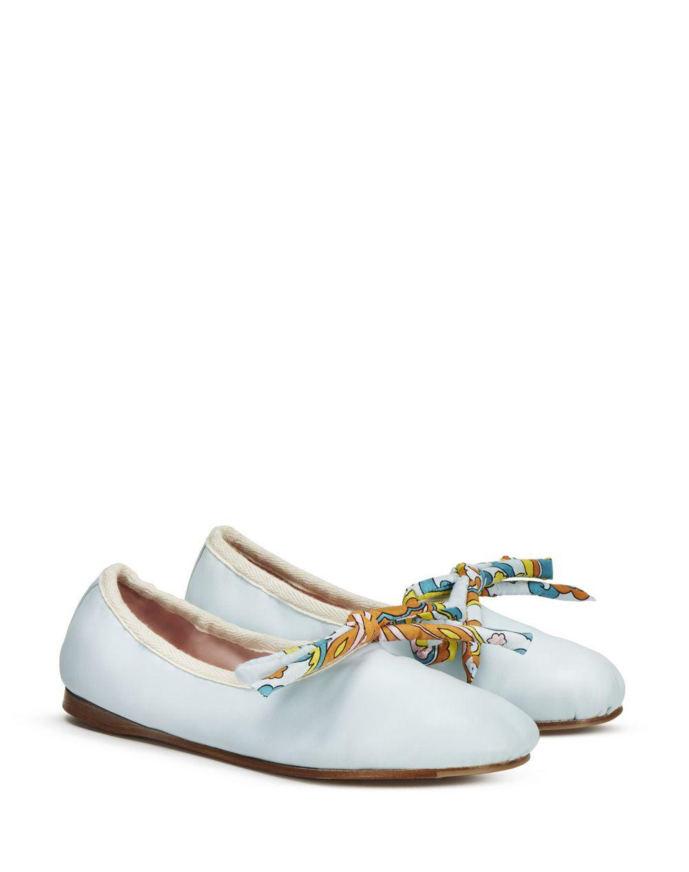 FLOWER SWIRL PRINT BOW BALLET FLAT - Lanvin