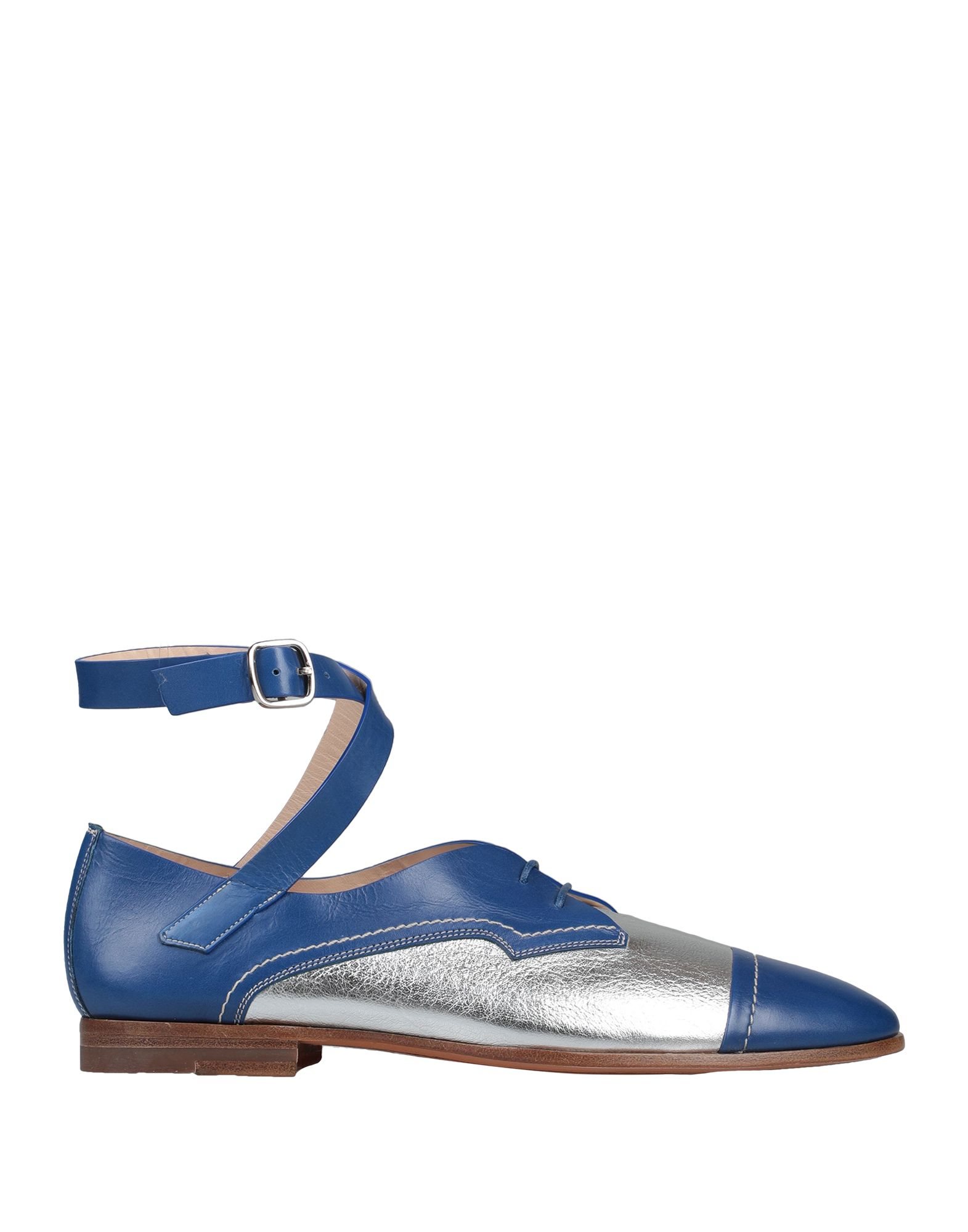 SANTONI Lace-up shoes. laminated effect, no appliqués, two-tone, buckling ankle strap closure, round toeline, flat, leather lining, leather/rubber sole, contains non-textile parts of animal origin, large sized. Soft Leather