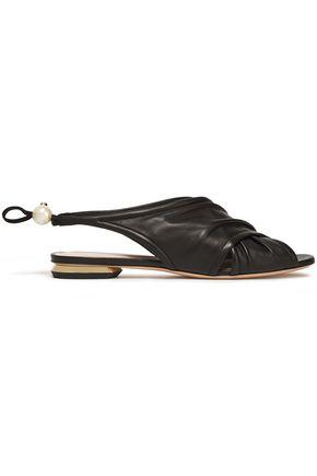 NICHOLAS KIRKWOOD Faux pearl-embellished gathered leather slingback sandals