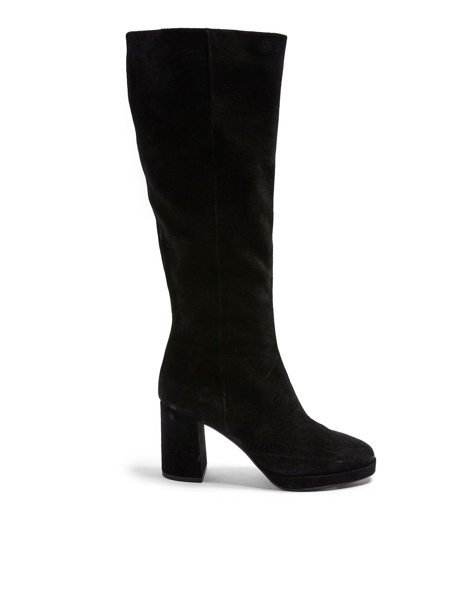 《セール開催中》TOPSHOP レディース ブーツ ブラック 38 牛革 100% TORONTO LEATHER BLACK KNEE BOOTS