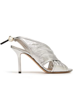 NICHOLAS KIRKWOOD Faux pearl-embellished gathered metallic leather slingback sandals