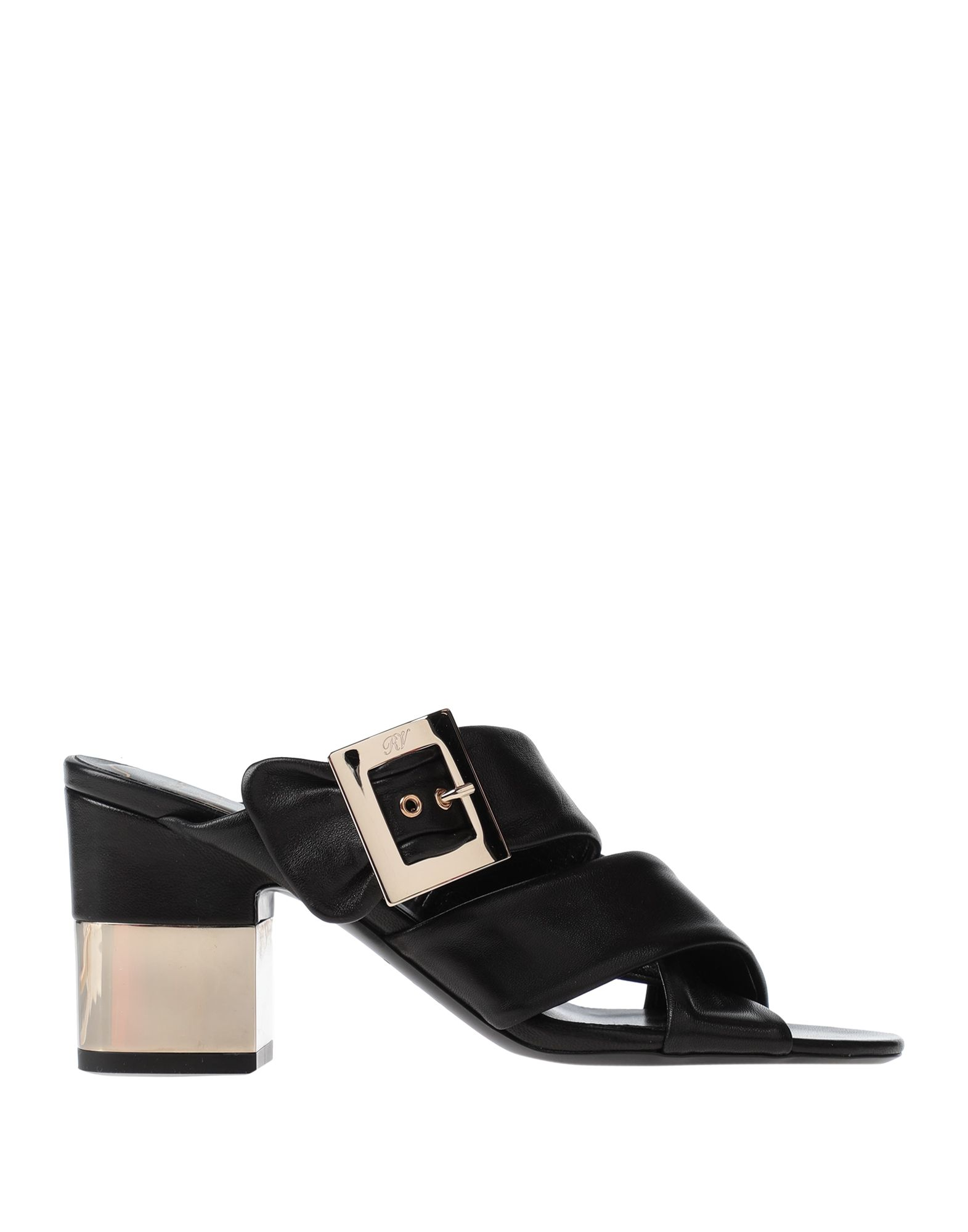 ROGER VIVIER Sandals. leather, no appliqués, solid color, buckle fastening, round toeline, square heel, leather lining, leather sole, contains non-textile parts of animal origin. Soft Leather