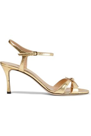 SERGIO ROSSI Alma knotted metallic textured-leather sandals