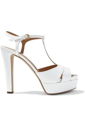 SERGIO ROSSI T-bar patent-leather platform sandals