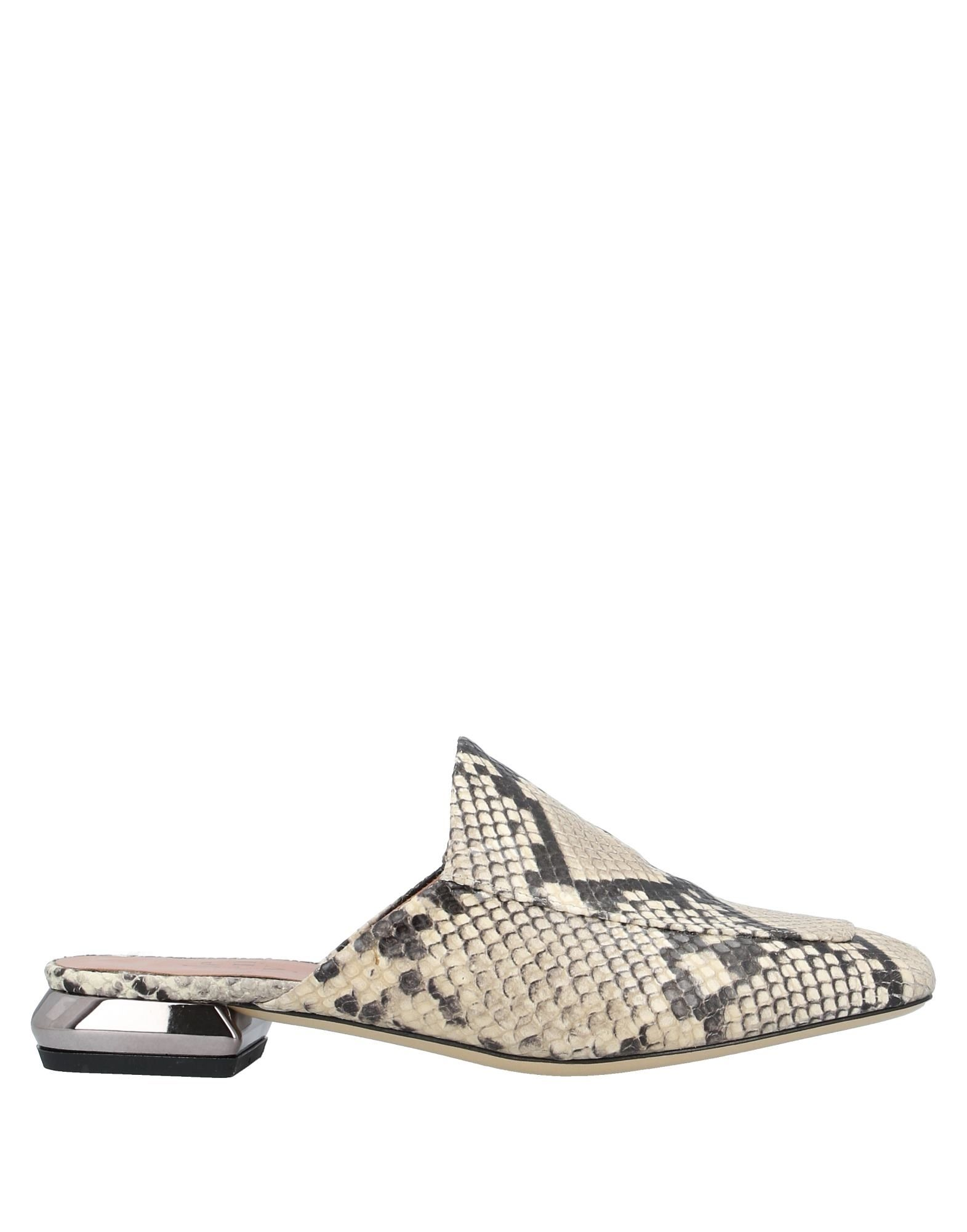 ELEVENTY Mules. leather, snakeskin print, no appliqués, two-tone, square toeline, flat, leather lining, leather sole, contains non-textile parts of animal origin. Soft Leather