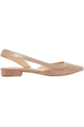 ALEXANDRE BIRMAN Wavee leather-trimmed suede slingback point-toe flats