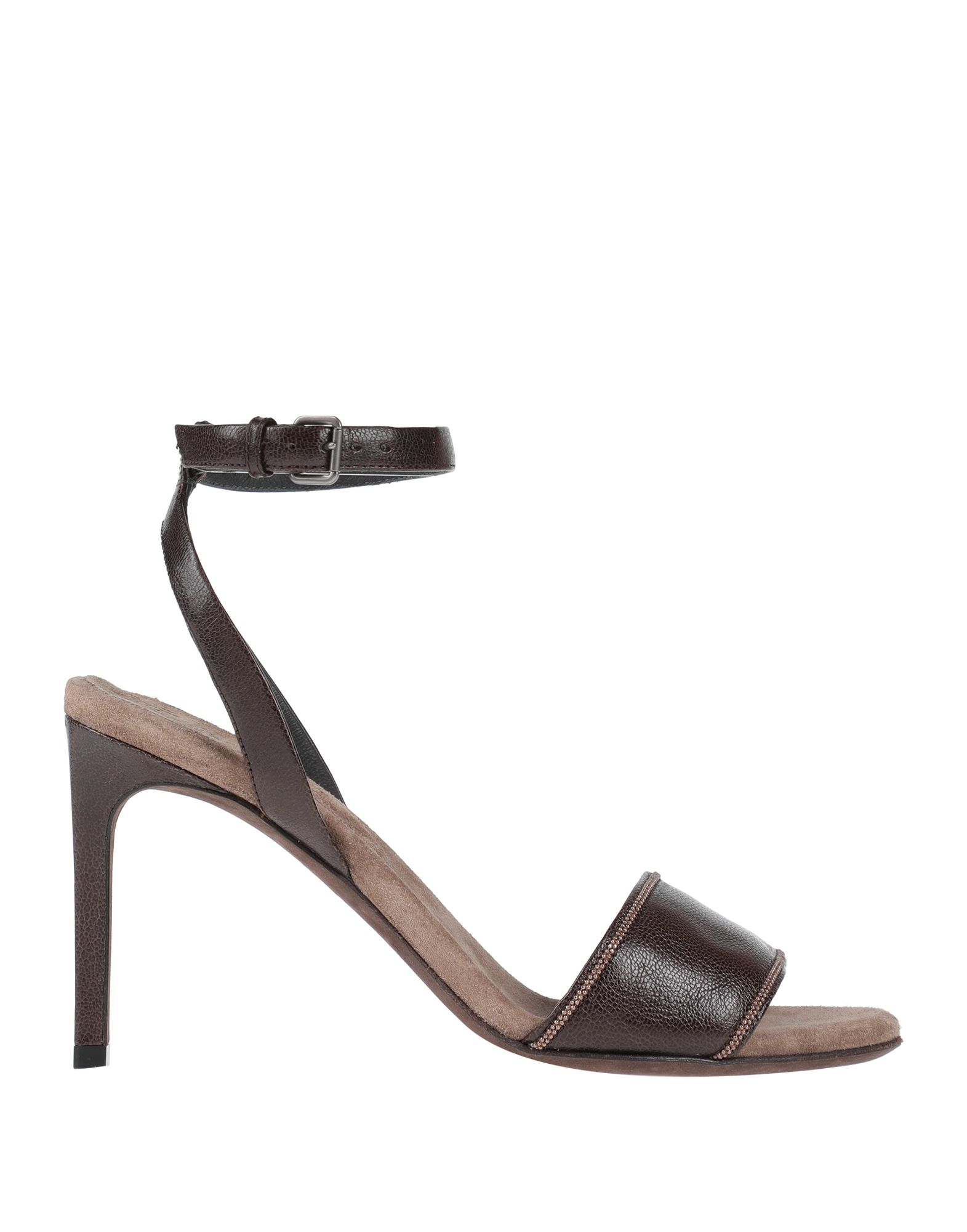BRUNELLO CUCINELLI Sandals. contrasting applications, solid color, buckling ankle strap closure, round toeline, stiletto heel, covered heel, leather lining, leather/rubber sole, contains non-textile parts of animal origin. Soft Leather