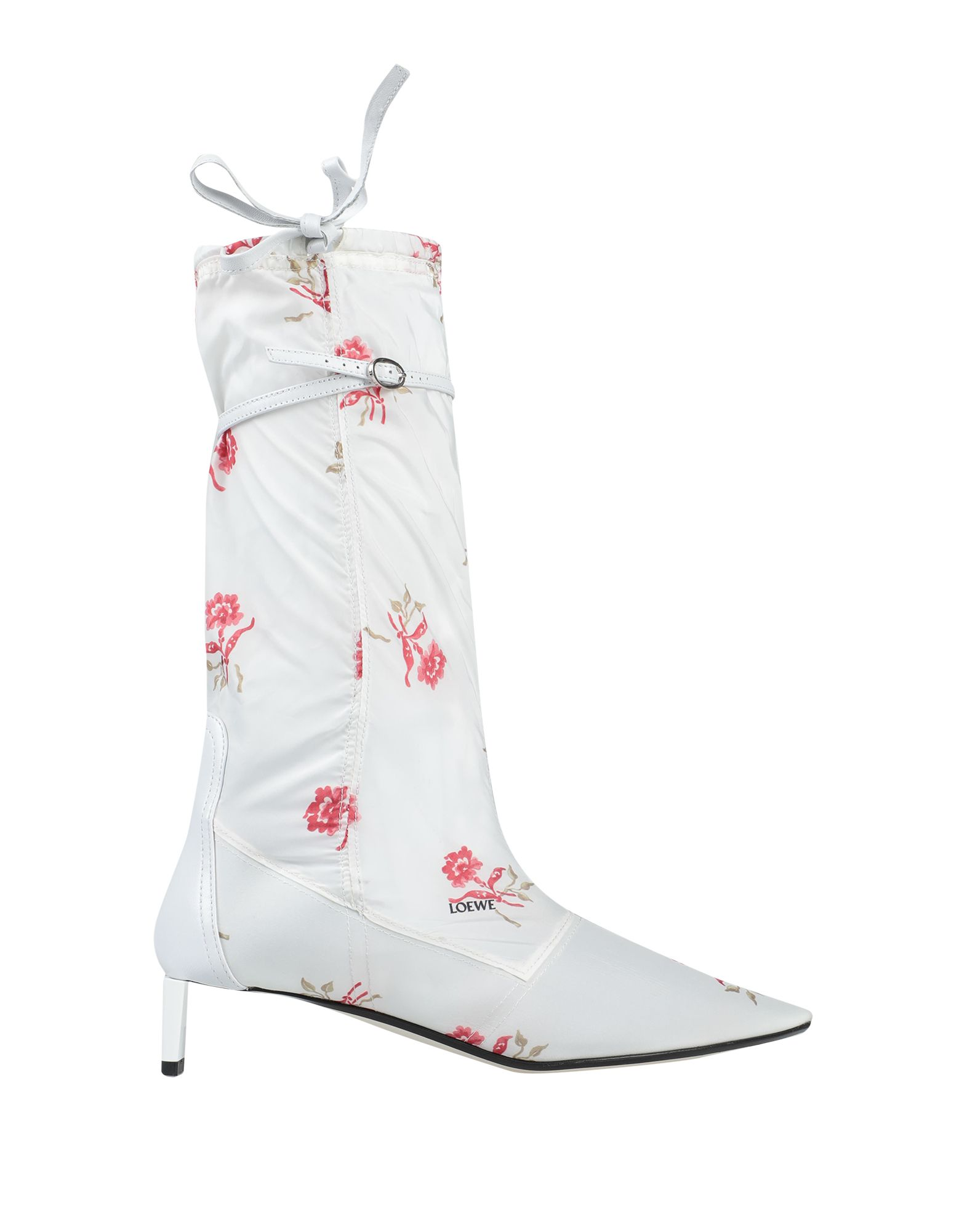 LOEWE Boots. techno fabric, laces, floral design, narrow toeline, sculpted heel, leather lining, leather/rubber sole, contains non-textile parts of animal origin. Soft Leather, Textile fibers