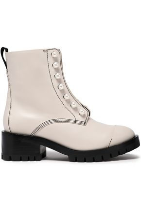 """3.1 PHILLIP LIM حذاء بوت إلى الكاحل """"حياة"""" من الجلد مزين باللؤلؤ الاصطناعي"""