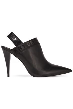 DKNY Kris logo-print leather slingback pumps