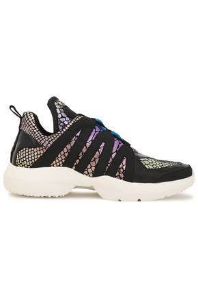 DKNY Lynzie patent-trimmed metallic snake-effect leather sneakers