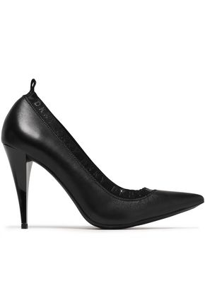 DKNY Katrina patent-trimmed gathered leather pumps