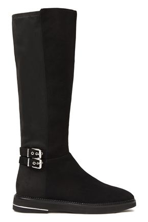 DKNY Lena buckled paneled suede knee boots