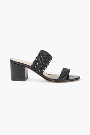 ALEXANDRE BIRMAN Lanny crochet and basketweave leather mules