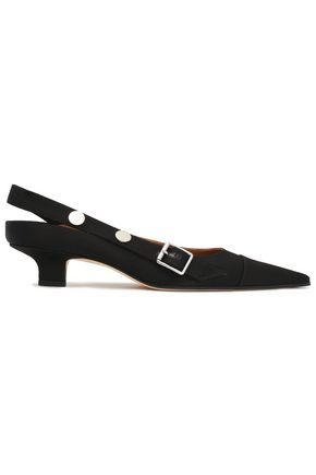 VICTORIA BECKHAM Buckle-detailed studded satin slingback pumps