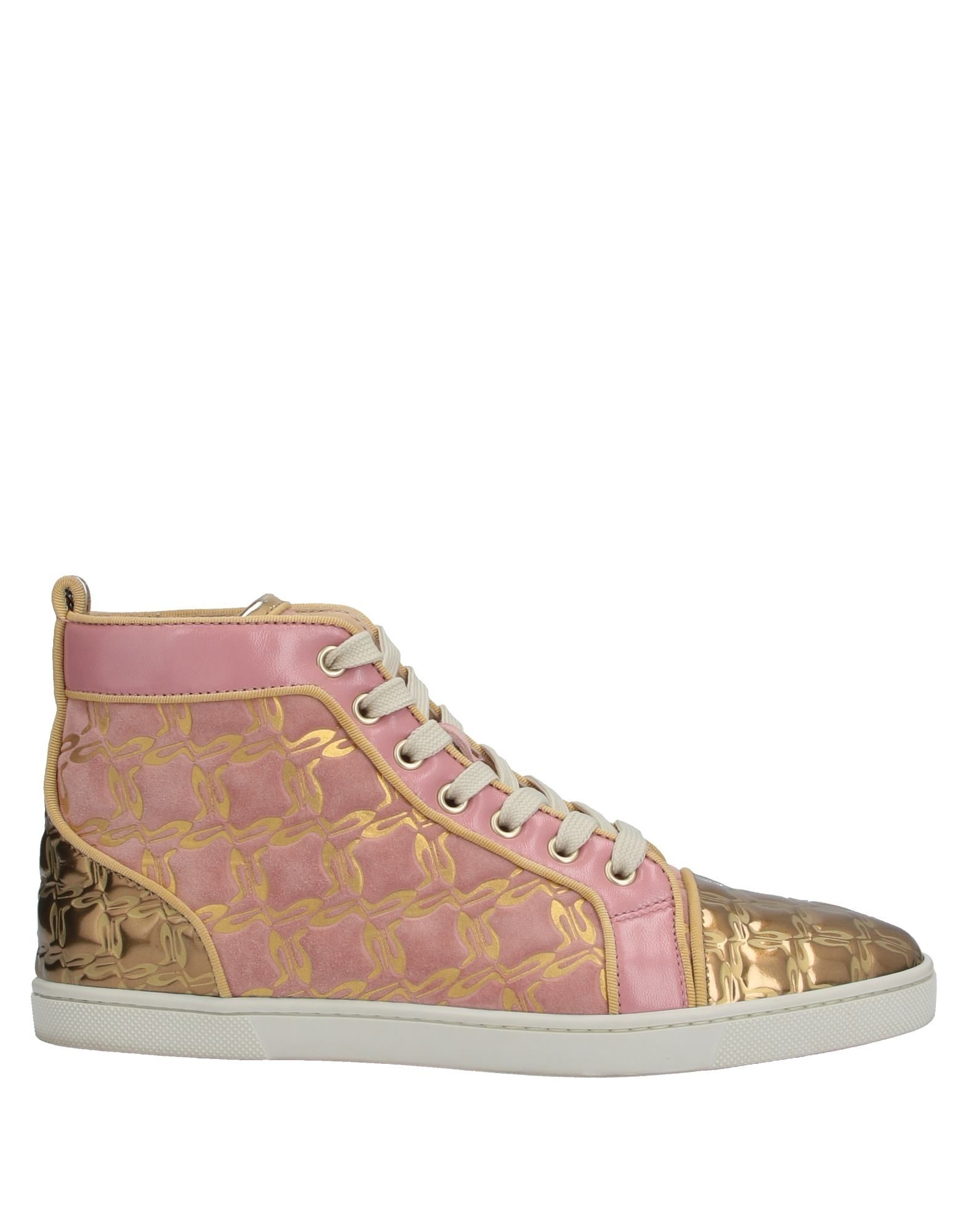 CHRISTIAN LOUBOUTIN Sneakers. laminated effect, no appliqués, two-tone, laces, round toeline, flat, leather lining, rubber sole, contains non-textile parts of animal origin, small sized. Soft Leather
