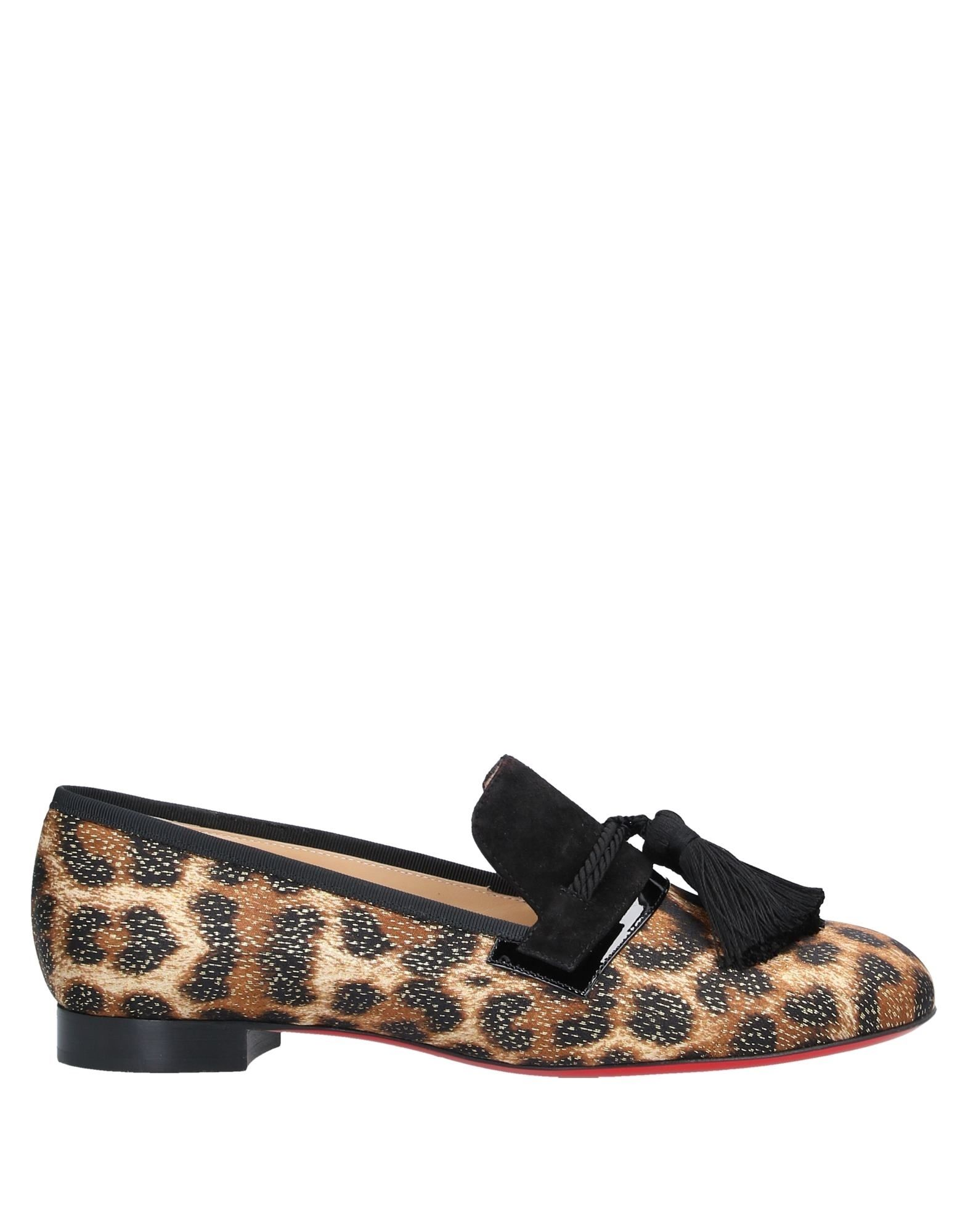 CHRISTIAN LOUBOUTIN Loafers. lamé, tassels, suede effect, animal print, round toeline, flat, leather lining, leather sole, contains non-textile parts of animal origin, satin, small sized. Soft Leather, Textile fibers