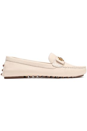TORY BURCH Logo-embellished textured-leather loafers