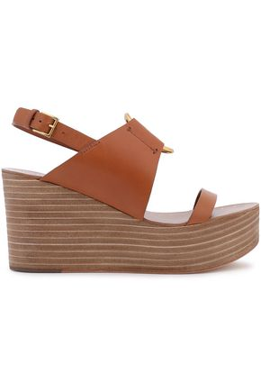 TORY BURCH Ring-embellished leather wedge sandals