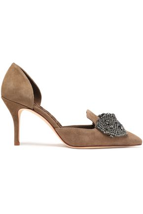 TORY BURCH Crystal and bow-embellished suede pumps