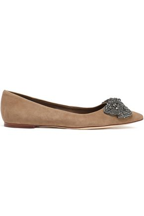 TORY BURCH Crystal and bow-embellished suede point-toe flats