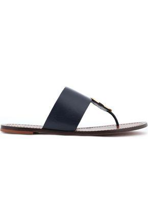 TORY BURCH Appliquéd leather slides