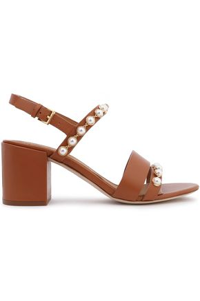 TORY BURCH Faux leather-embellished leather sandals