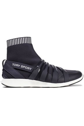 TORY SPORT Rubber-paneled stretch-knit sneakers