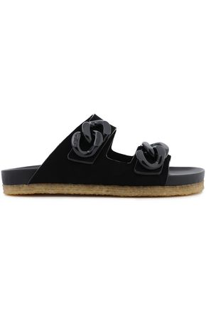 TORY BURCH Chain-trimmed suede slides