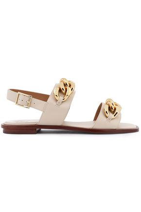TORY BURCH Chain-trimmed leather slides