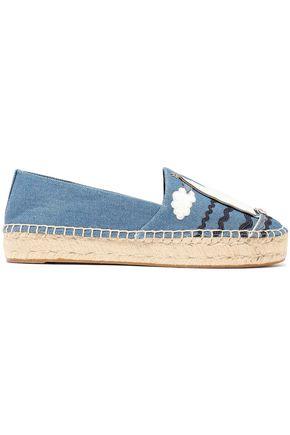 TORY BURCH حذاء إسبادريل من الدنيم مع تصميمات مخيطة