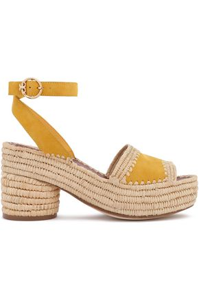 TORY BURCH Suede and straw platform sandals
