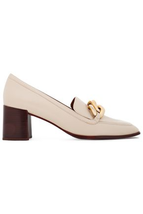 TORY BURCH Chain-trimmed leather loafers