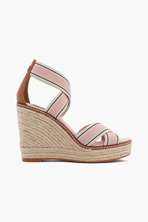 TORY BURCH Leather-trimmed striped grosgrain wedge espadrille sandals