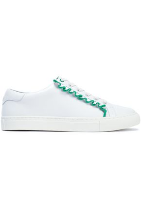 TORY SPORT Ruffle-trimmed leather sneakers