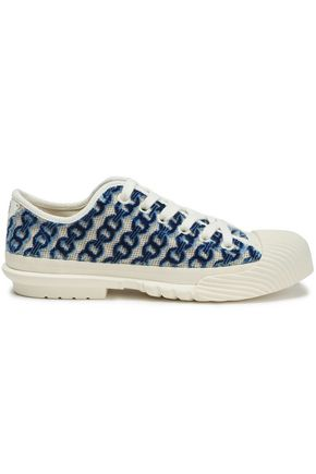 TORY BURCH Rubber-paneled flocked canvas sneakers
