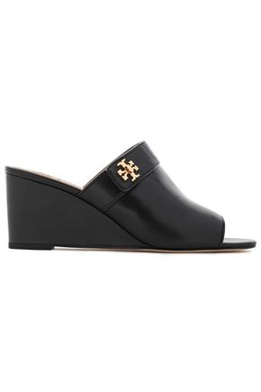 TORY BURCH Logo-embellished leather wedge mules