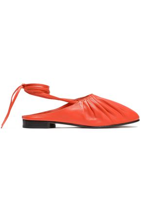 Ballet flats Leather Pleated Round toe Slight heel Ties at ankle Leather sole Made in Italy