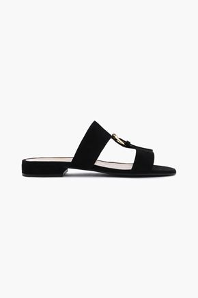 SERGIO ROSSI Buckle-embellished leather slides
