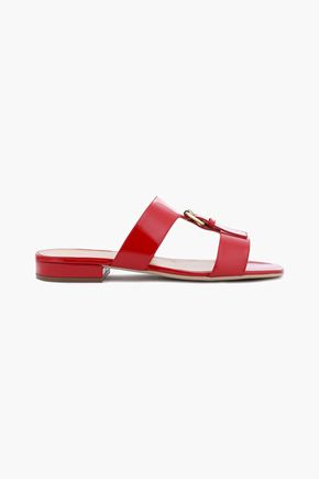 SERGIO ROSSI Buckle-embellished patent-leather slides